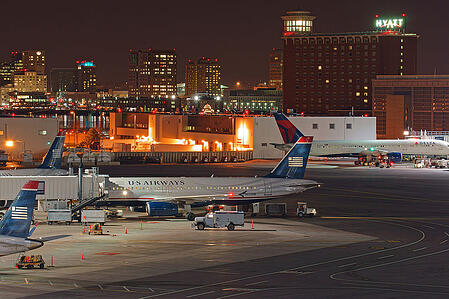 Logan International Airport in Boston, Massachusetts