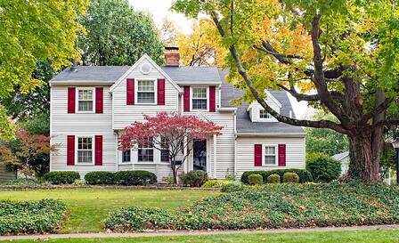 Massachusetts White Colonial House Red Shutters Fall Autumn