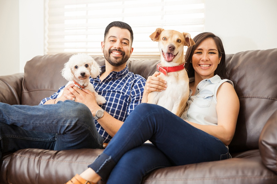 A couple with their dogs in the home they bought with a first-time homebuyer mortgage