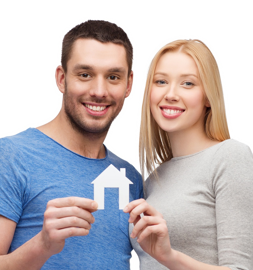 Happy Couple After Buying Their First Home